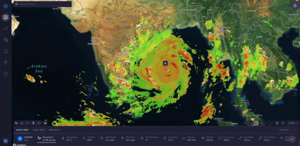 Forecasting with ClimaCell: Cyclone Amphan