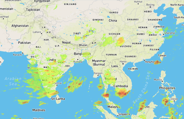 ClimaCell Forecast: Monsoons Threaten China and India